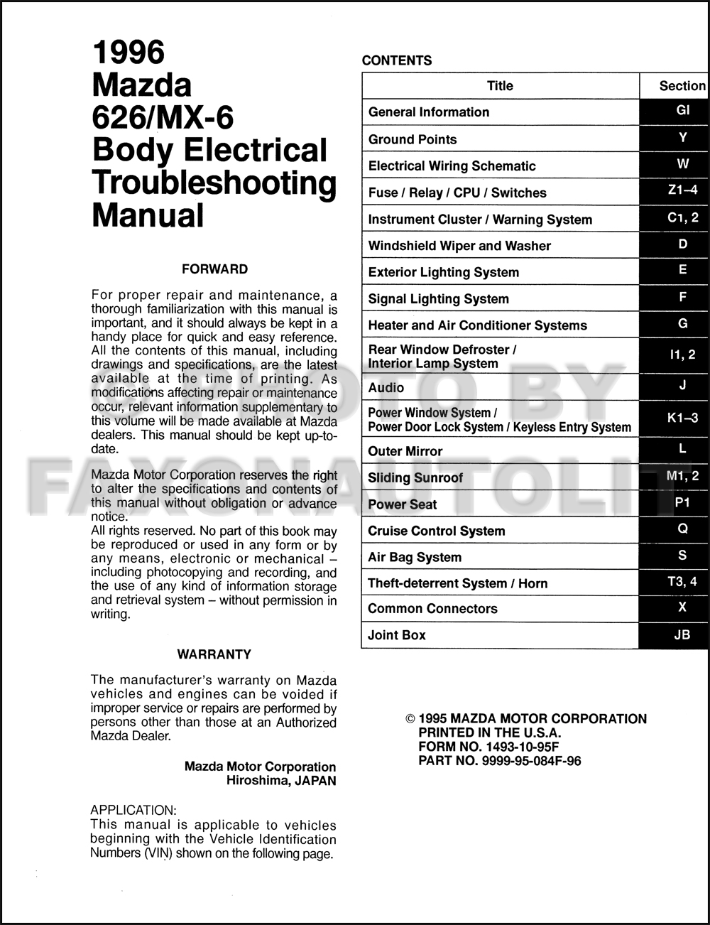 1996 mazda 626 abd mx 6 body electrical troubleshooting manual original 1996 ford mustang wiring diagram click on thumbnail to zoom