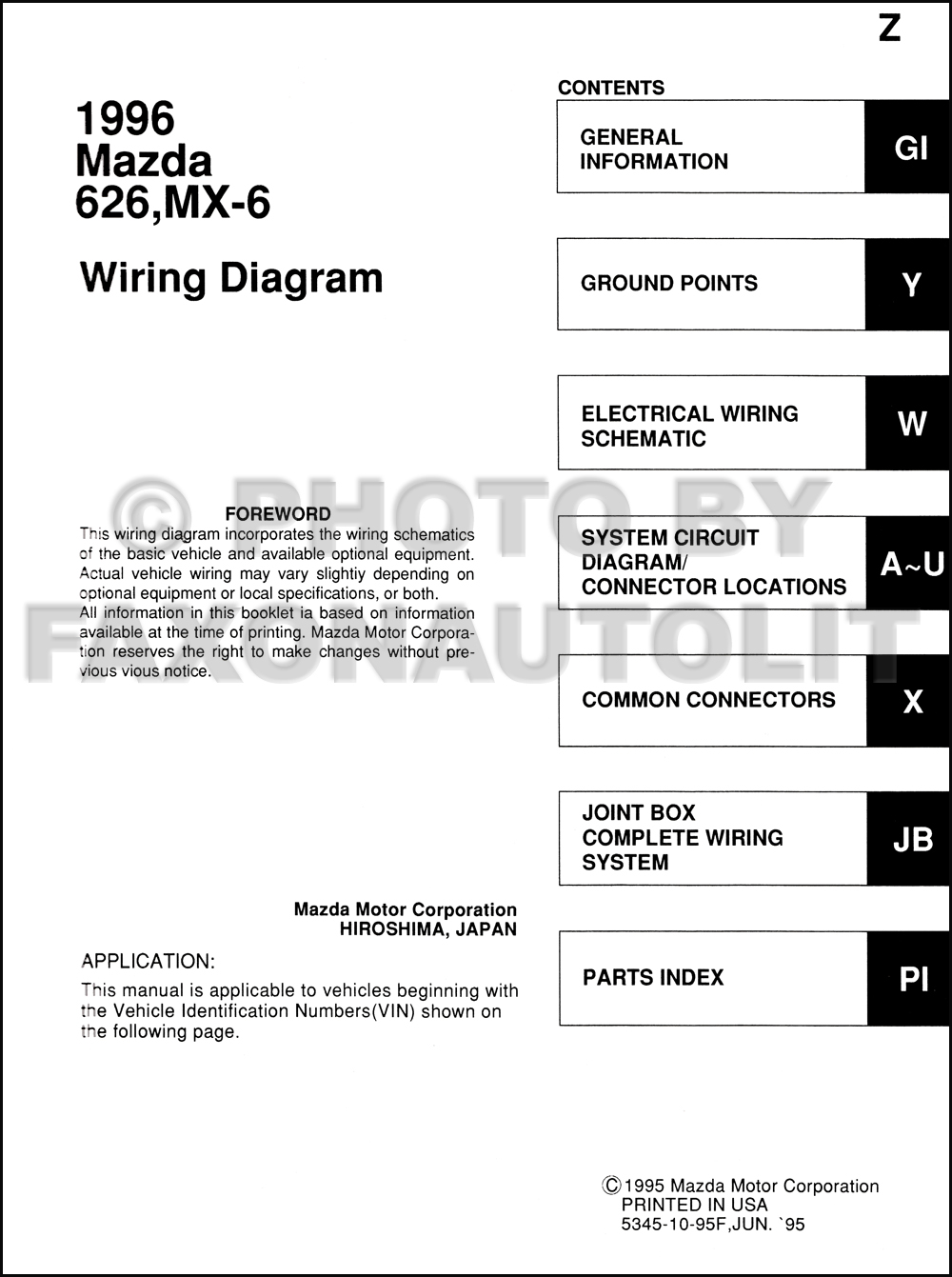 1996 Mazda 626 And Mx 6 Wiring Diagram Manual Original