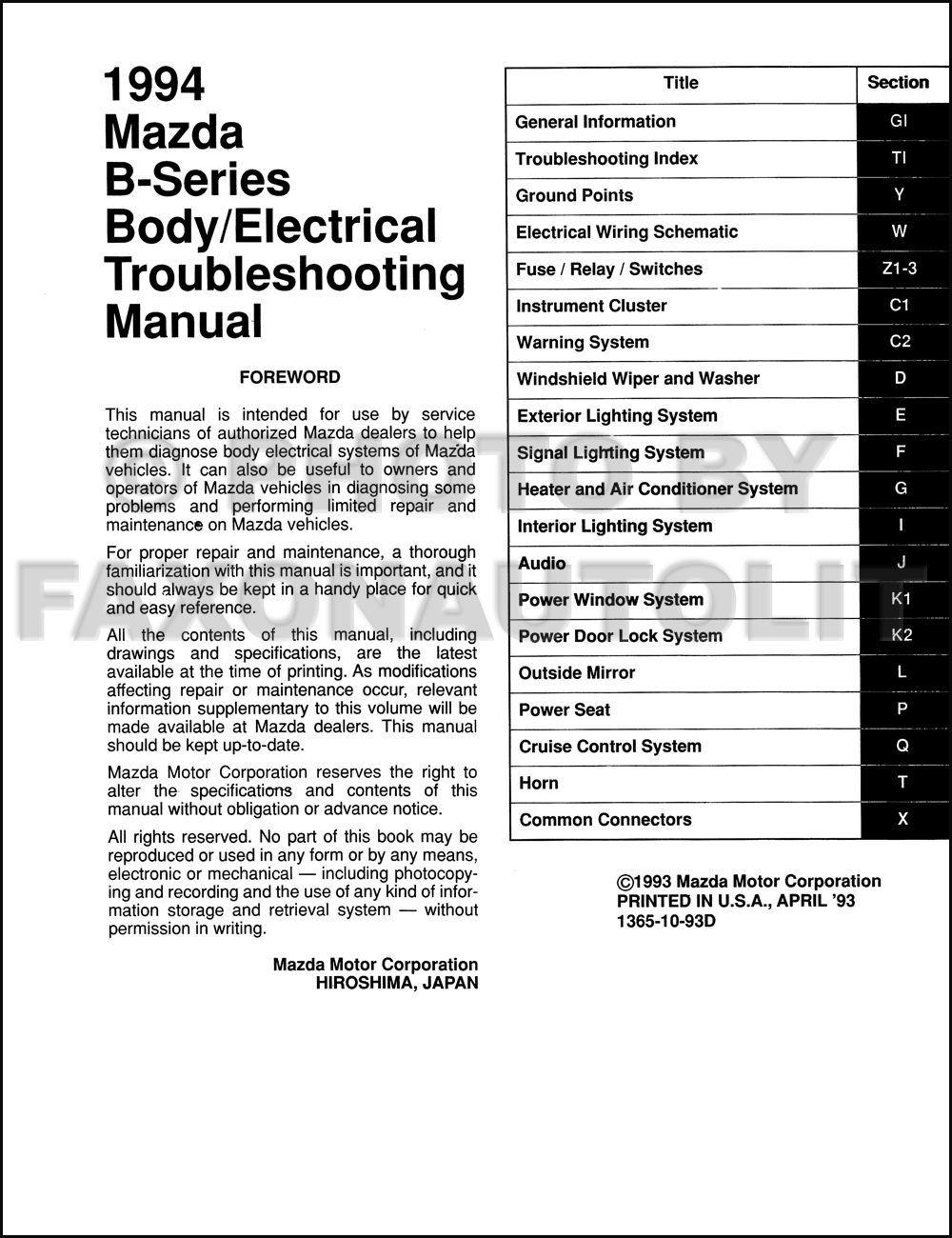 1996 Mazda Pickup Truck Body Electrical Troubleshooting Manual Original B2300 Fuse Diagram Click On Thumbnail To Zoom
