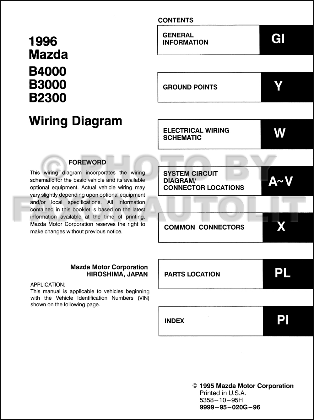 Mazda B3000 Wiring Schematic List Of Circuit Diagram 01 Fuse Box 1996 B4000 B2300 Pickup Truck Manual Original Rh Faxonautoliterature Com 2003