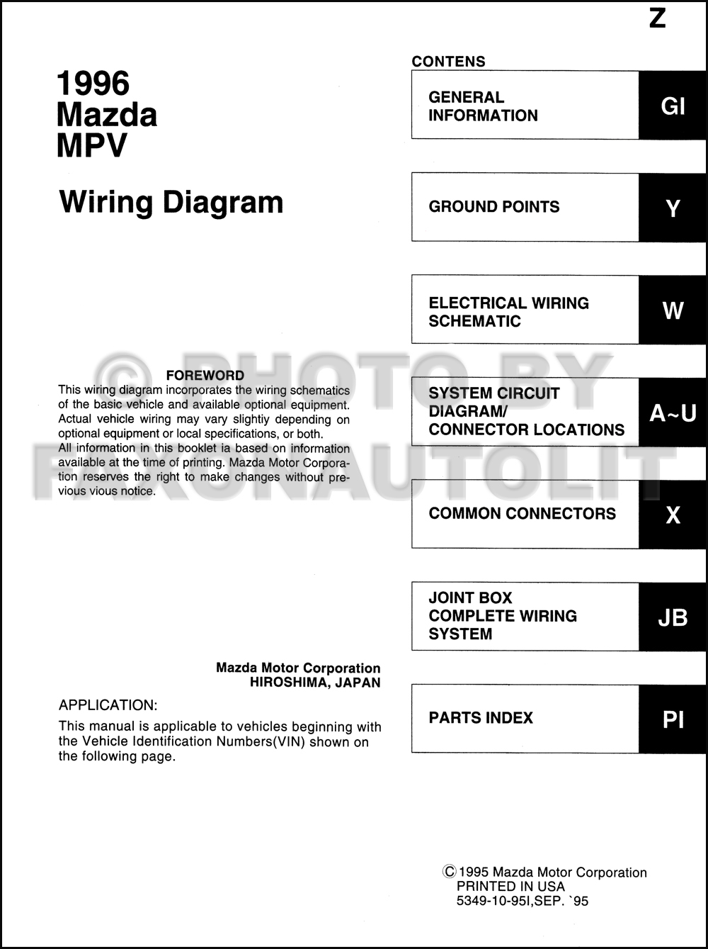 1996 Mazda Mpv Wiring Diagram Another Blog About Equipment Electrical Schematic Manual Original Rh Faxonautoliterature Com