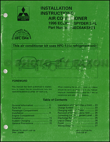 1996 Mitsubishi Eclipse Spyder 2.4L A/C Installation Instruction Manual Original
