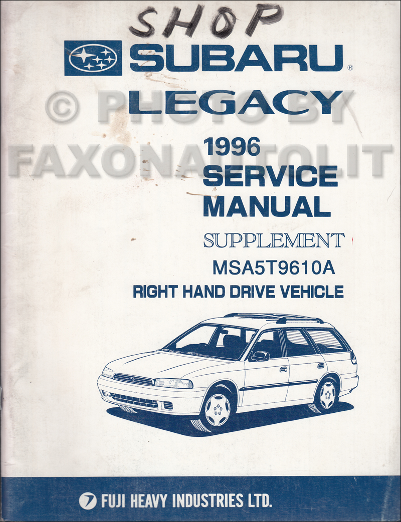 1996 Subaru Legacy RHD Emissions Repair Shop Manual Supplement Original