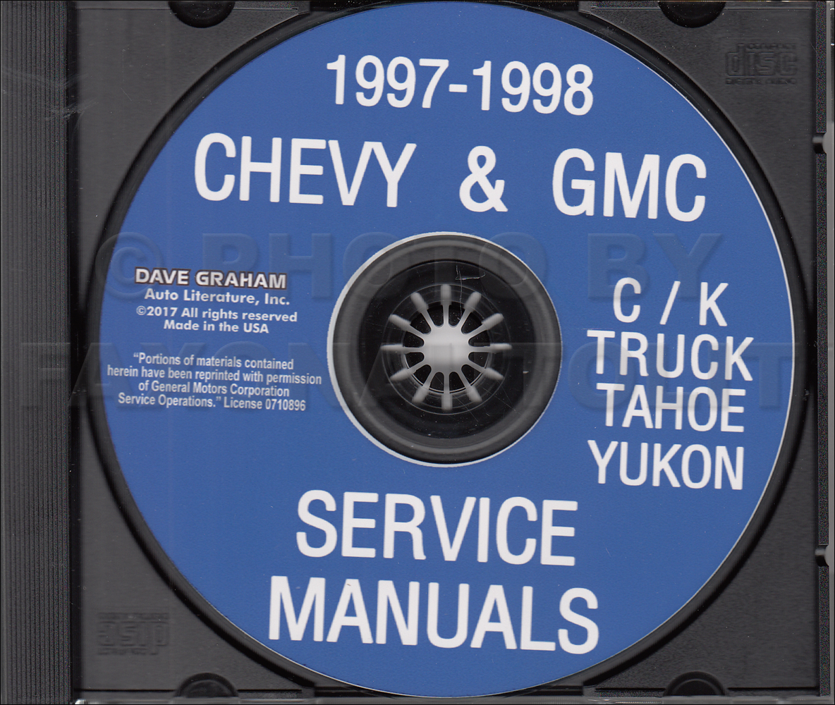 1998 Chevrolet GMC C/K Pickup Tahoe Yukon Service Manual on CD