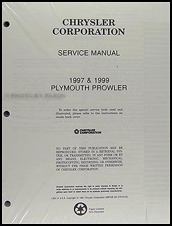 1997 & 1999 Plymouth Prowler Shop Manual Original