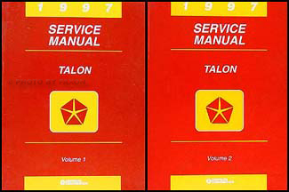 1997 Eagle Talon Shop Manual Original 2 Volume Set