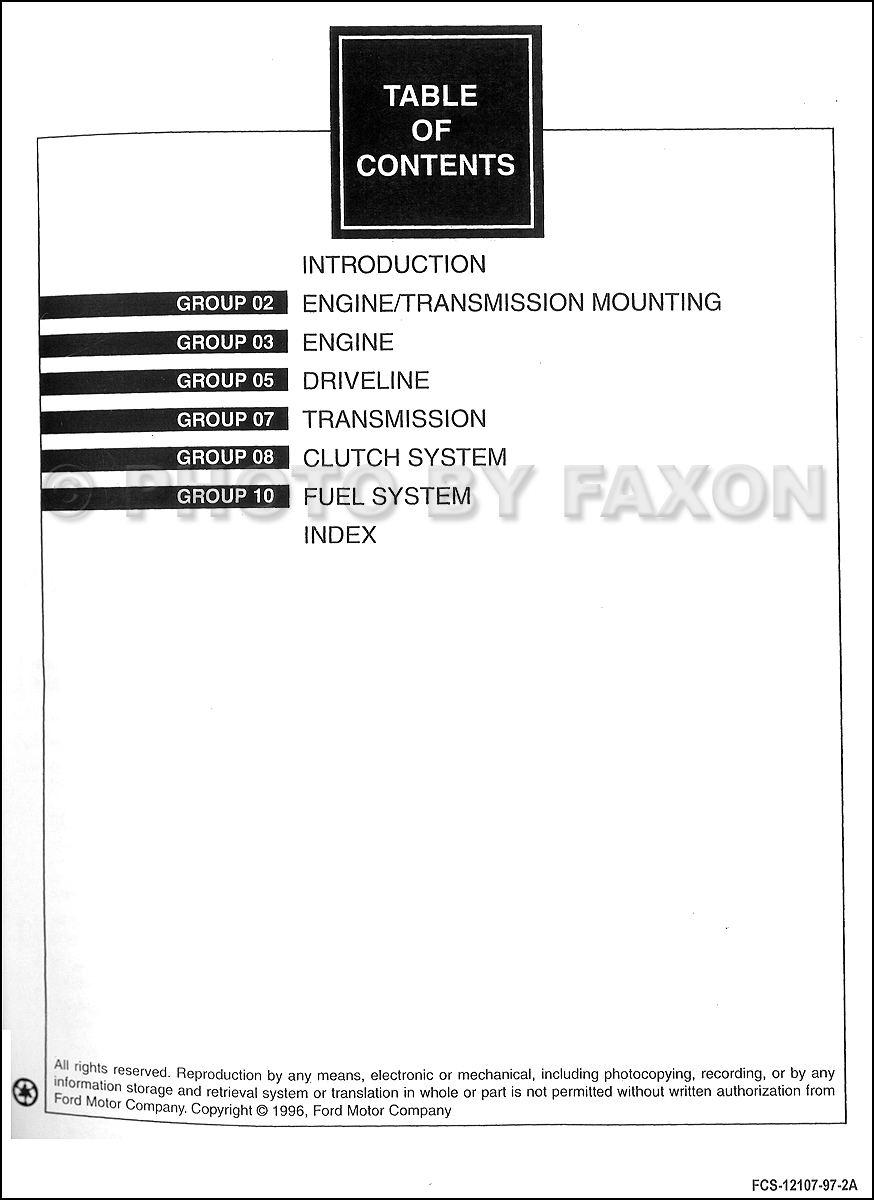 1997 Ford F-250 HD F-350 F-Super Duty Service Manual 2 · Table of Contents  Page 1 · Table of Contents Page 2