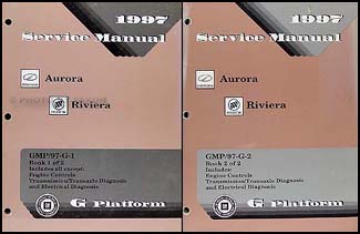 1997 Olds Aurora & Buick Riviera Repair Manual Original 2 Volume Set