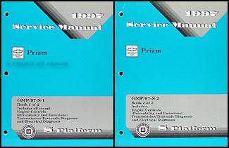 1997 Chevy Geo Prizm Repair Manual Original 2 Volume Set
