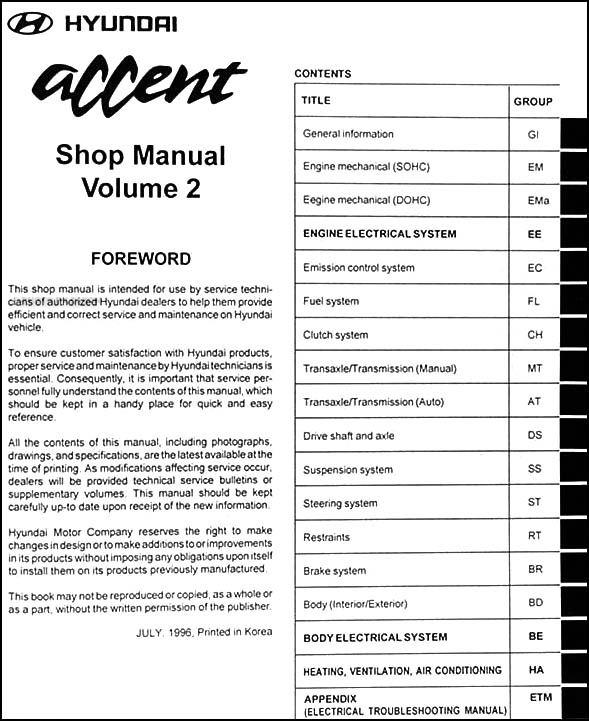 1997 hyundai accent repair shop manual original 2 volume set rh faxonautoliterature com 2006 hyundai accent shop manual 2006 hyundai accent shop manual