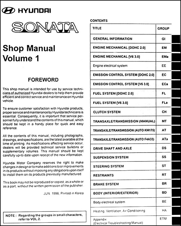 2011 Hyundai Sonata Repair Manual