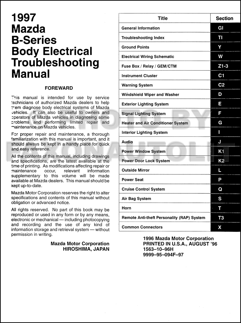 1997 Mazda Truck Body Electrical Troubleshooting Manual Original B2300  B3000 B4000