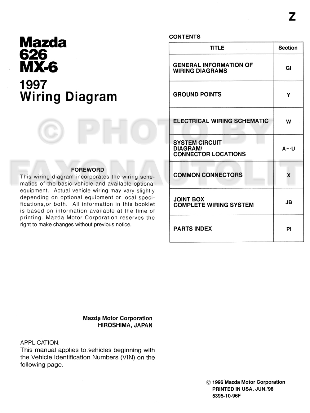 1997 Mazda 626 And Mx 6 Wiring Diagram Manual Original Electrical Table Of Contents