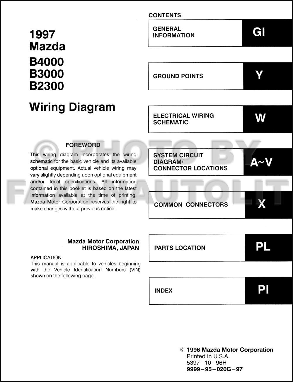 1997 Mazda B4000 B3000 B2300 Pickup Truck Wiring Diagram Manual Original.  click on thumbnail to zoom