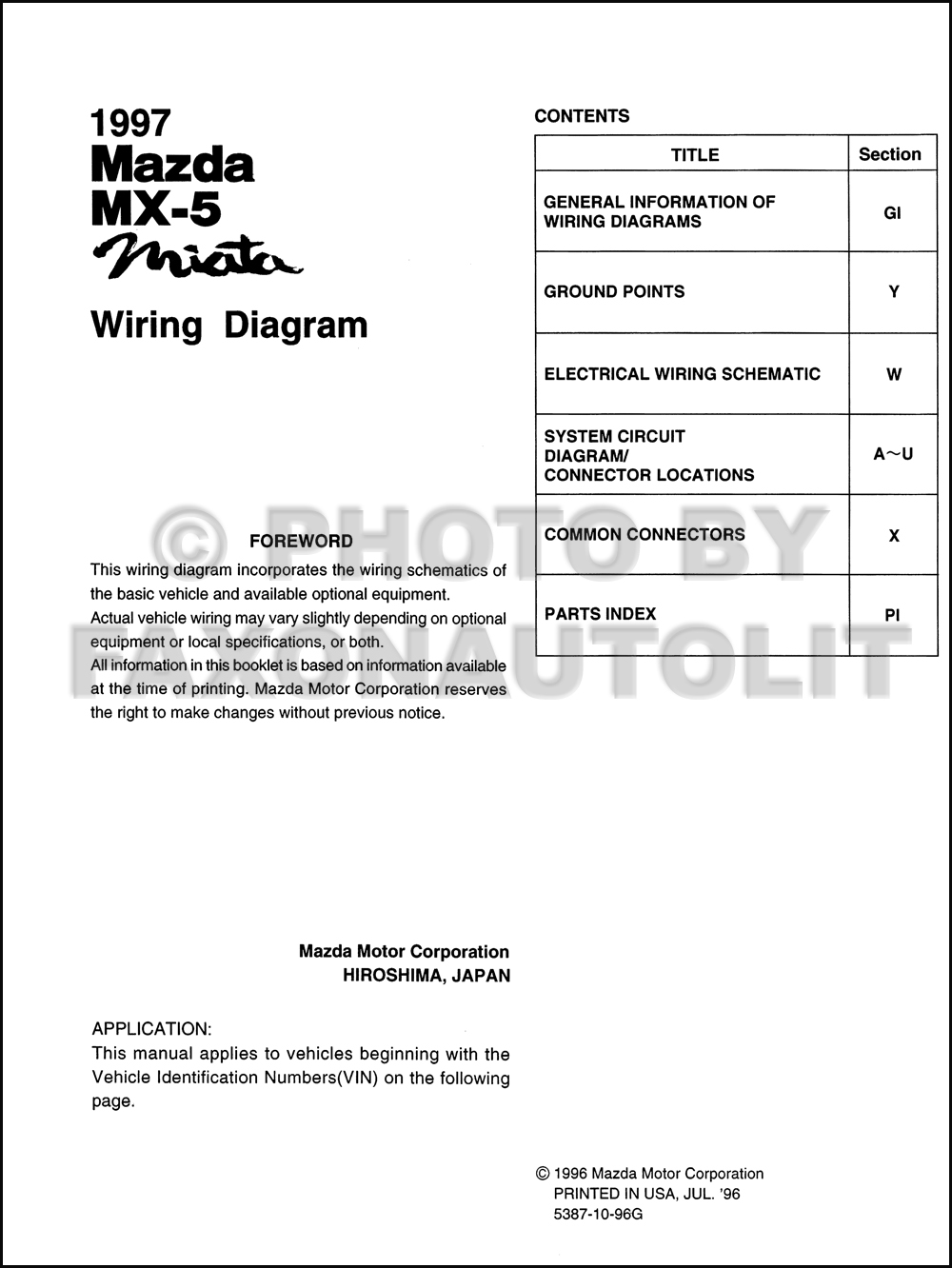 1997 Mazda MX-5 Miata Wiring Diagram Manual Original. click on thumbnail to  zoom