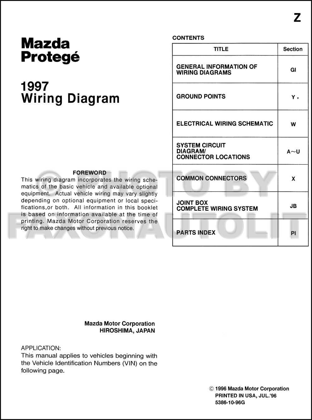 1997 Mazda Protege Wiring Diagram Manual Original Vehicle