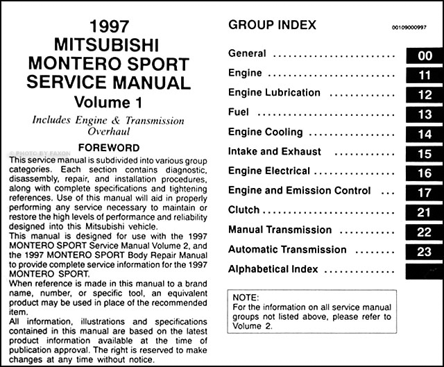1997 mitsubishi montero sport repair manual set original · table of  contents page 1
