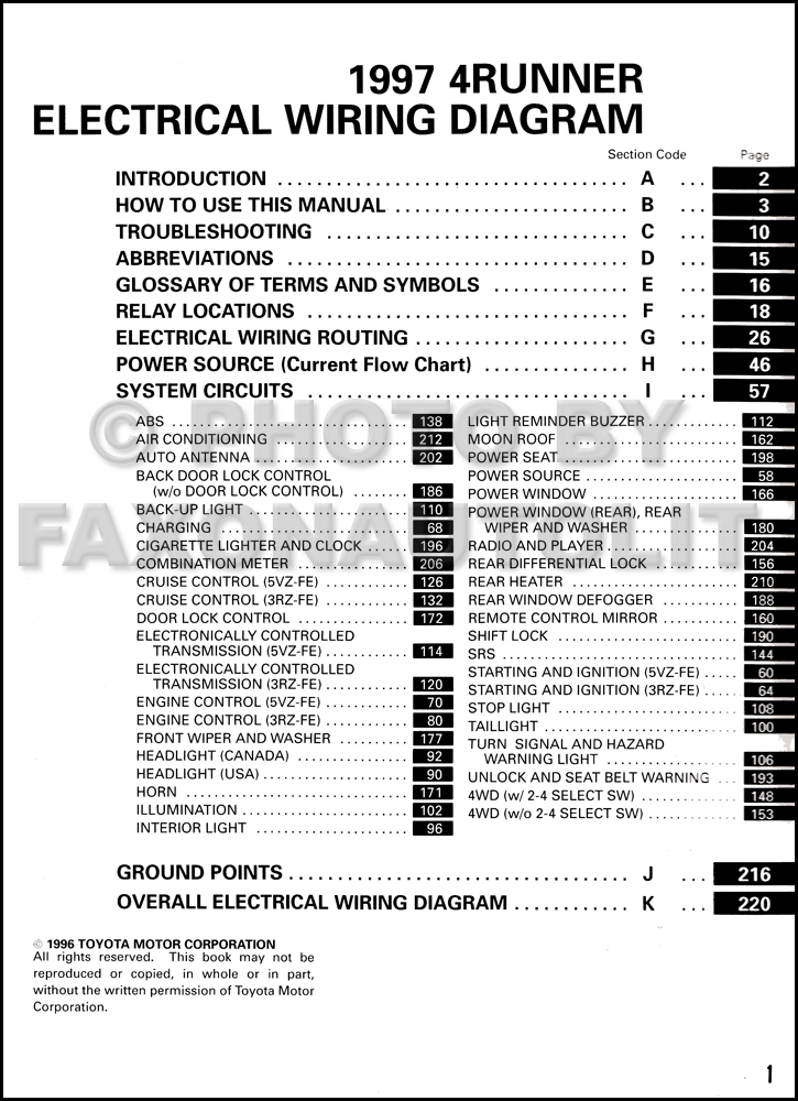 1997 Toyota 4Runner Wiring Diagram Manual Original on