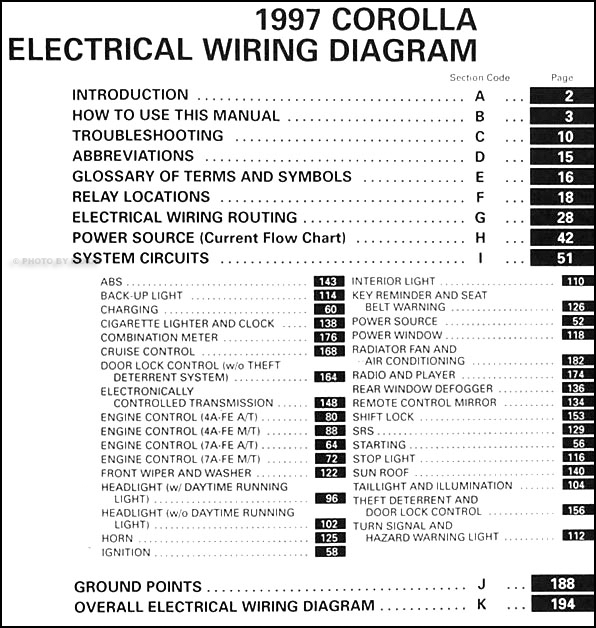 1997 Toyota Corolla Wiring Diagram Manual Original