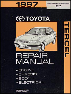 1997 Toyota Tercel Repair Shop Manual Original