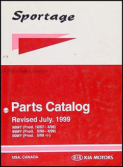 1998-2000 Kia Sportage Parts Book Original