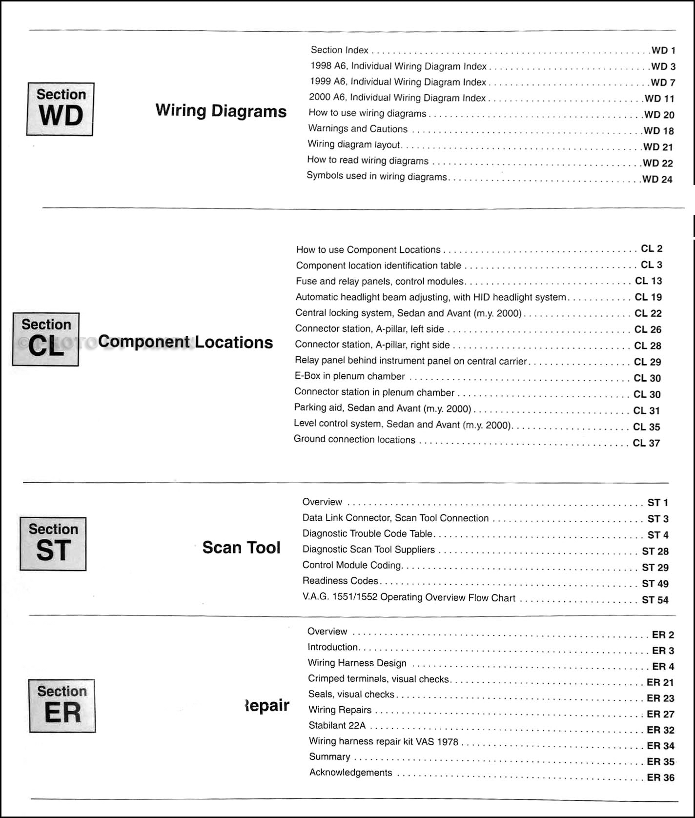 1998 2000 Audi A6 Wiring Diagram Manual Wd Table Of Contents