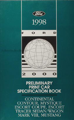 1998 Ford Preliminary Service Specifications Book Original