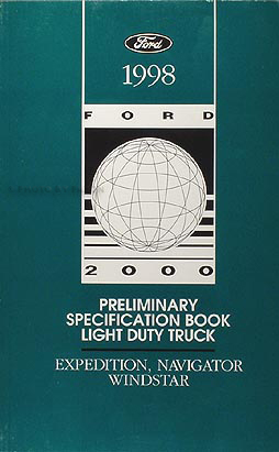 1998 Ford Expedition, Navigator, Windstar Preliminary Service Specifications Book Original