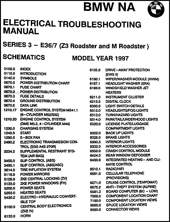 1998 bmw z3 and m roadster electrical troubleshooting manual original �  table of contents