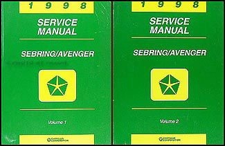 1998 Chrysler Sebring Coupe Dodge Avenger Repair Shop Manual Original 2 Volume Set