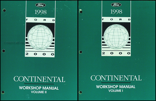 1998 Lincoln Continental Shop Manual Original 2 Volume Set