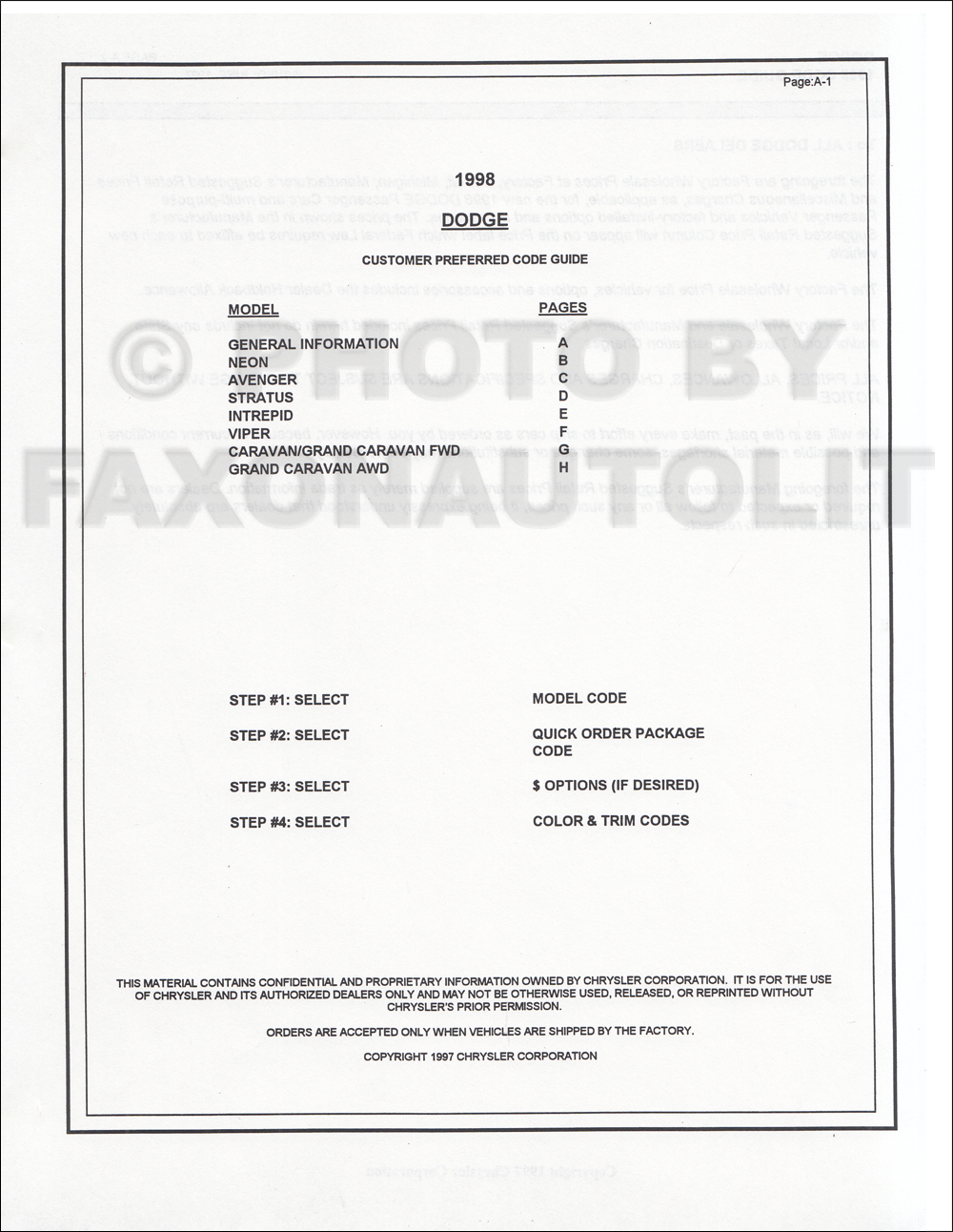 1998 Dodge Car Ordering Code Guide Original