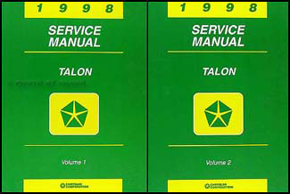 1998 Eagle Talon Shop Manual Original 2 Volume Set