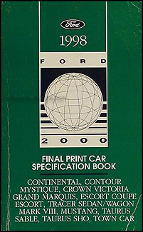 1998 Ford Lincoln Mercury Car Service Specifications Manual Original Final Print