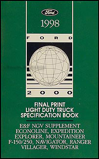 1998 Ford Truck SUV and Van Service Specifications Book Original