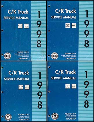 1998 C K 1500-3500 Repair Shop Manual Set Pickup Suburban Tahoe Yukon