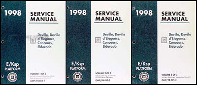 1998 Deville d'Elegance Concours Eldorado Repair Shop Manual Original Set