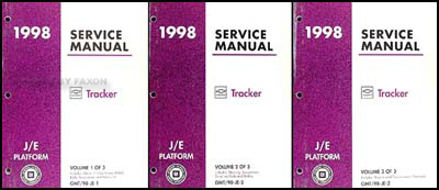 1998 Chevy/Geo Tracker Repair Manual Original 3 Volume Set