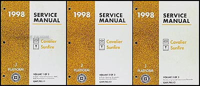 1998 Cavalier & Sunfire Repair Manual Original 3 Volume Set