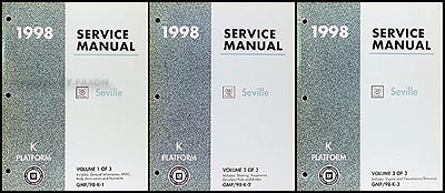 1998 Cadillac Seville Repair Shop Manual Original 3 Volume Set