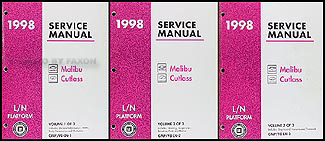 1998 Malibu and Cutlass Repair Manual Original 3 Volume Set