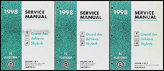 1998 Grand Am/Achieva/Skylark Repair Manual Original 3 Volume Set