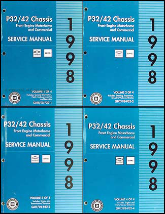1998 P32 P42 Stepvan & Motorhome Chassis Repair Shop Manual Set Original Chevy GMC