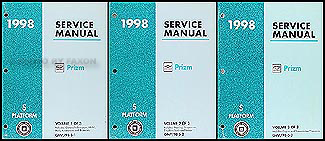 1998 Chevy/Geo Prizm Repair Manual Original 3 Volume Set