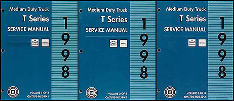 1998 T Series Tilt Cab Medium Duty Truck Repair Shop Manual Original 3 Vol. Set Chevy GMC