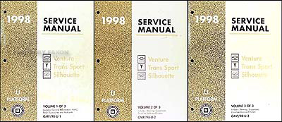 1998 Venture Trans Sport Silhouette Repair Shop Manual Original 3 Vol. Set