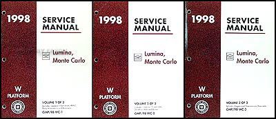 1998 Chevy Lumina and Monte Carlo Repair Manual Original 3 Volume Set
