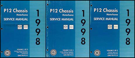 1998 P12 Motorhome & Truck Chassis Repair Manual 3 Volume Set Original