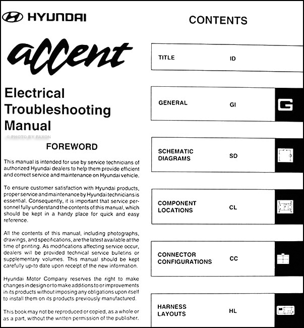 1998 Hyundai Accent Electrical Troubleshooting Manual Original