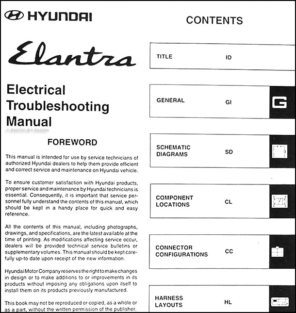 1998 hyundai elantra electrical troubleshooting manual reprint rh faxonautoliterature com hyundai elantra workshop manual free download 2009 hyundai elantra shop manual